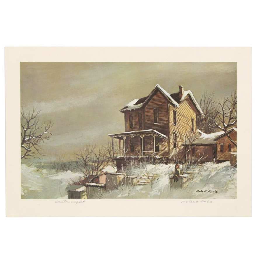 """Robert Fabe Offset Lithograph """"Winter Night,"""" Late 20th Century"""