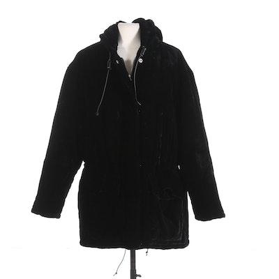 Ralph Lauren Black Velvet Puffer Quillted Zip Coat