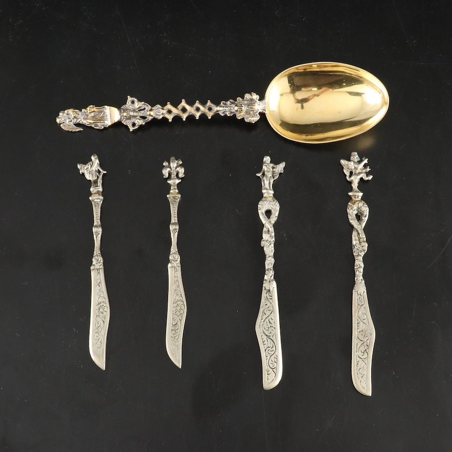 John Wilmin Figg Sterling Spoon with Italian Silver Plate Knives, 1865 and 1950s