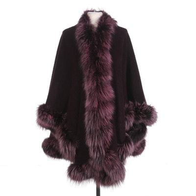 L. J. Aubergine Wool Cape with Dyed Fox Fur Trim