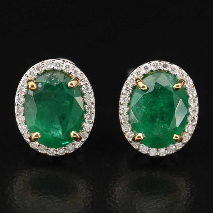 14K 3.50 CTW Emerald and Diamond Stud Earrings