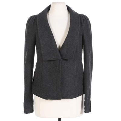 Free People Jacket in Grey Herringbone Wool Blend