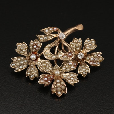 Victorian 14K Diamond Floral Pendant