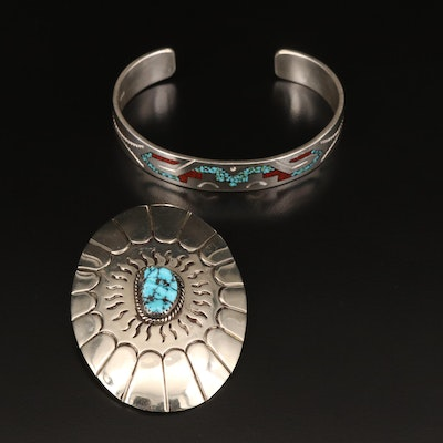 Western Style Sterling Turquoise and Chipped Stone Bangle with Bolo Tie Clip