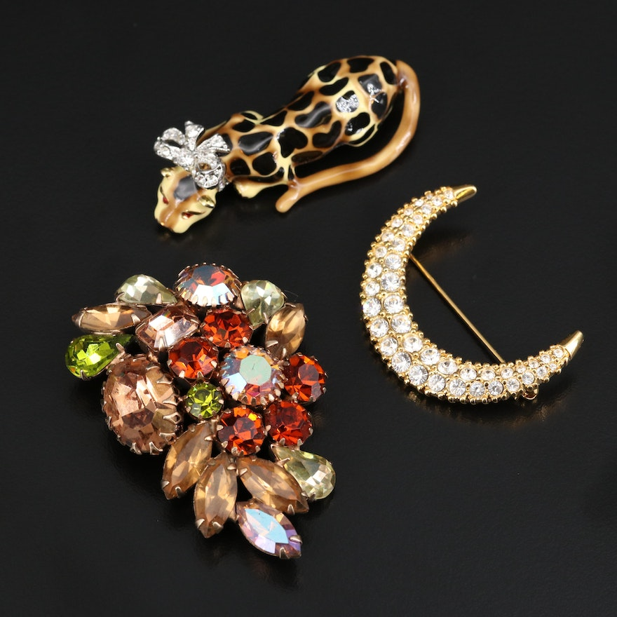 Vintage Signed Brooches Featuring Swarovski Crystal