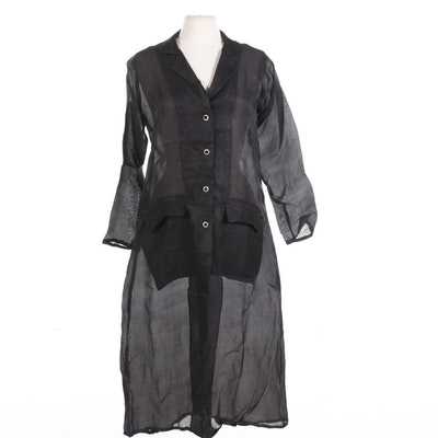 Joshi Sheer Silk Duster Jacket with Rhinestone Buttons