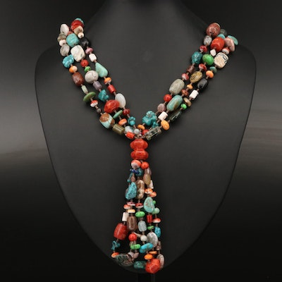 Sterling Silver Coral, Agate and Spiny Oyster Multi-Strand Necklace