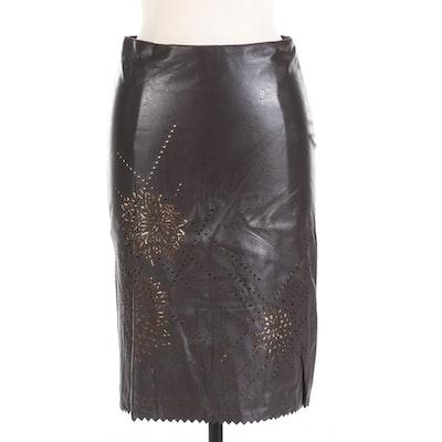 St. Vincent Pierced Lambskin Midi Skirt