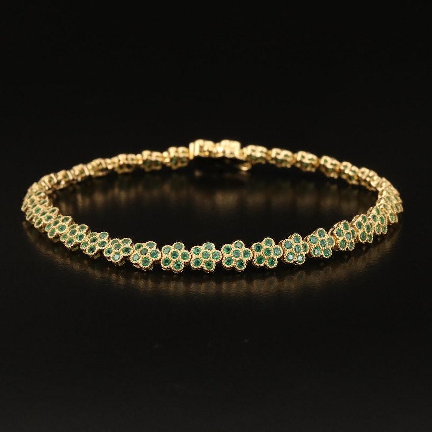 Sterling Cubic Zirconia Floral Link Bracelet