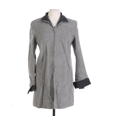 Costume National Men's Two-Tone Grey Jacket with Zippered Cuffs and Tail