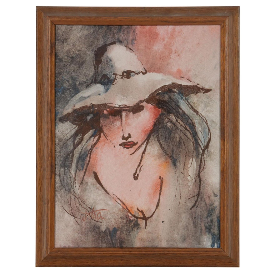 Abstract Mixed Media Painting of Woman in Hat