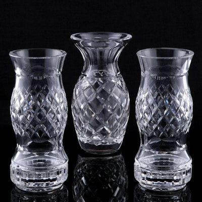 Waterford Crystal Flower Vase and Hurricane Votive Holders