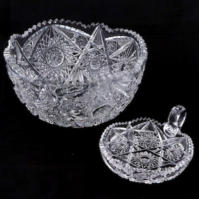 American Brilliant Cut Glass Hobstar Motif Bowl and Nappy Dish