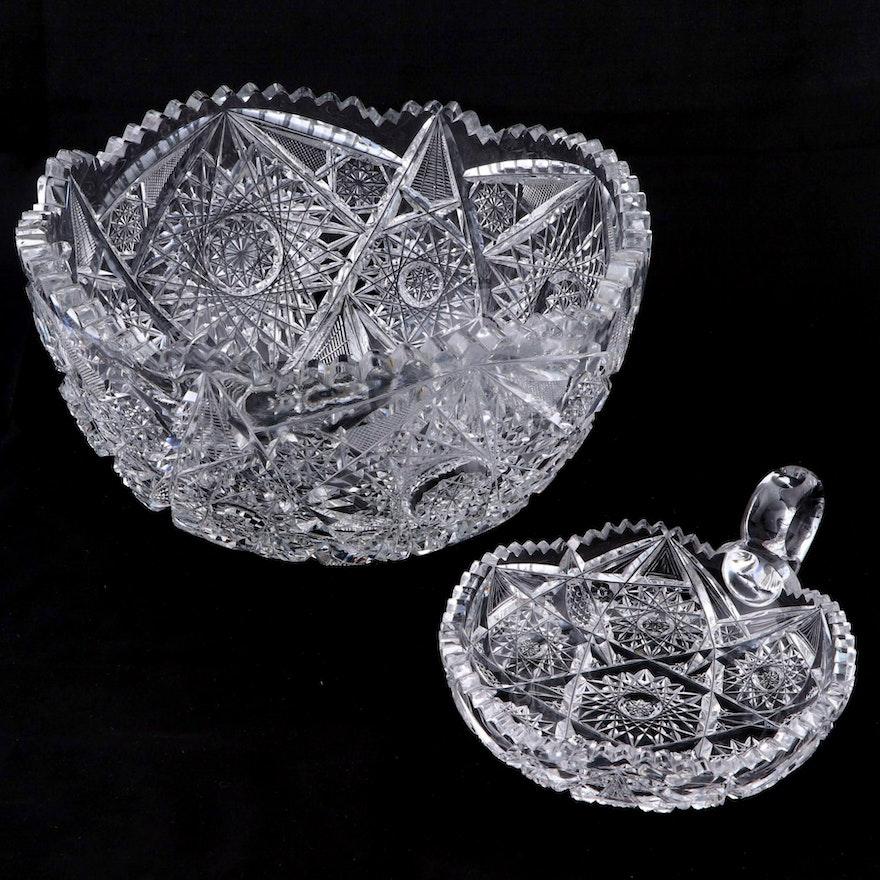 American Brilliant Cut Glass Hobstar Motif Bowl and Nappy Dish