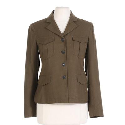 Rag & Bone Military Style Jacket in Green Wool