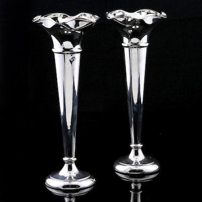 Walker & Hall of Sheffield Sterling Silver Fluted Trumpet Vases, 1918