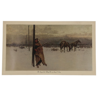 "Offset Lithograph after Henry F. Farny ""The Song of the Talking Wire"""