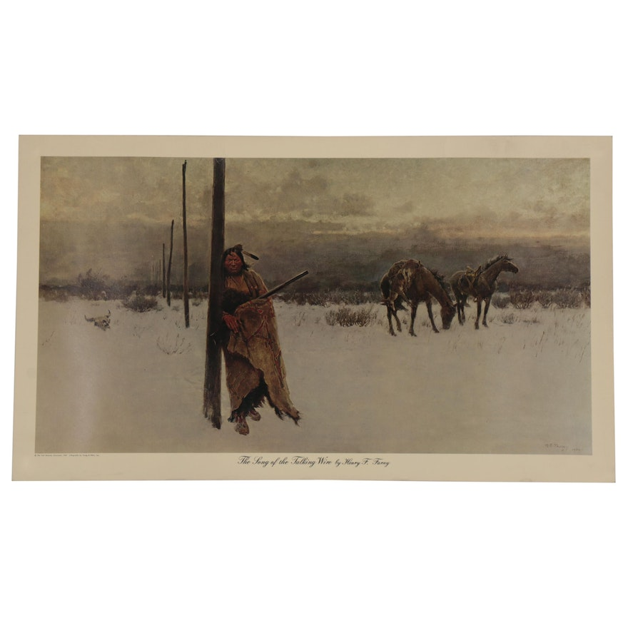 """Offset Lithograph after Henry F. Farny """"The Song of the Talking Wire"""""""