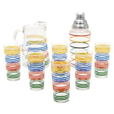 "Hazel Atlas ""Fiesta Stripe"" Juice Glass Set with Pitcher and Shaker, 1950s"