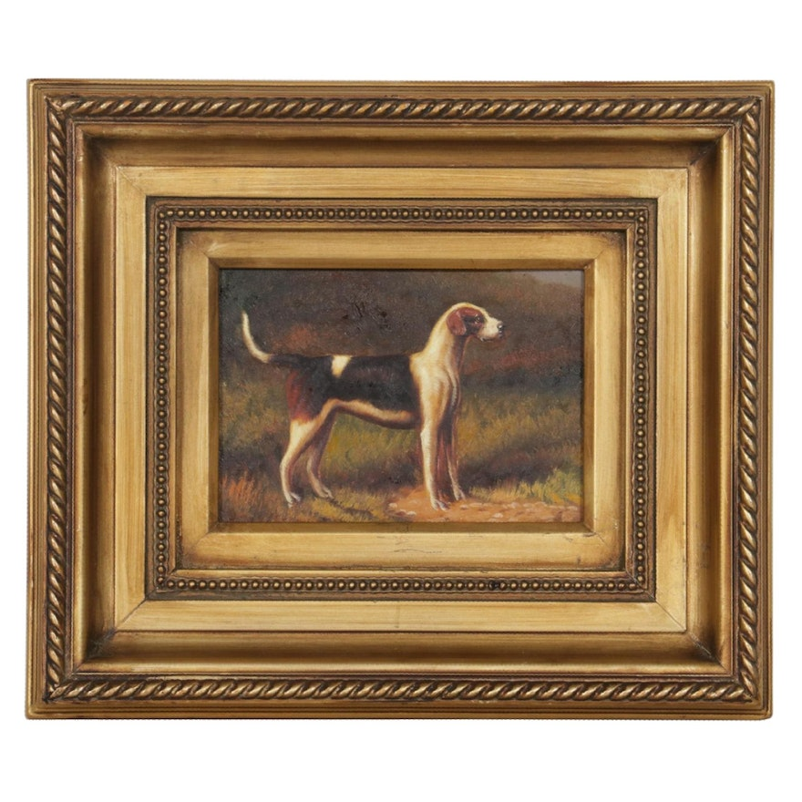 Oil Painting of Hunting Dog