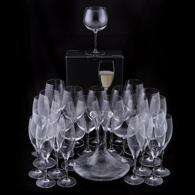 """Riedel Decanter, Vinum """"Curvee Prestige"""" Flutes and  Red and White Wine Glasses"""