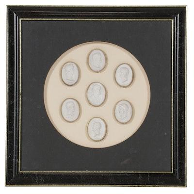 Plaster Intaglio Portrait Medallions, Mid 19th Century
