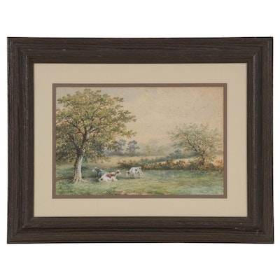 English Pastoral Scene Watercolor Painting