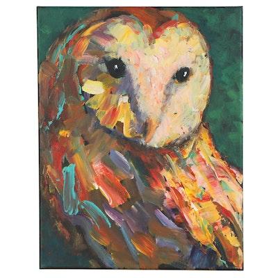 Elle Raines Acrylic Painting of a Barn Owl