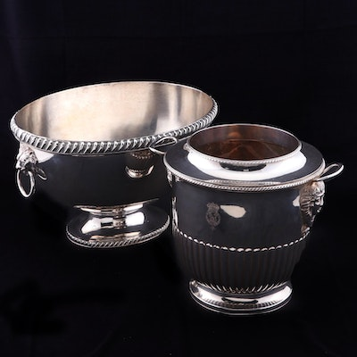 Silver Plate Wine Bucket with Order of Garter Motto and Champagne Chiller