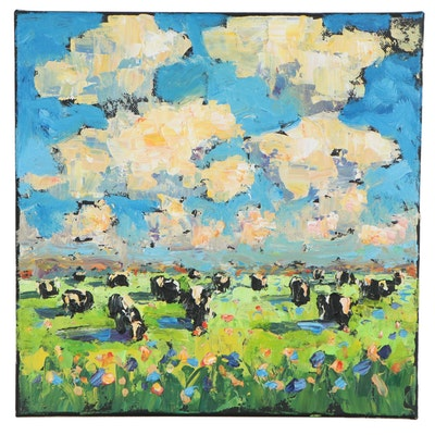 Elle Raines Acrylic Impasto Painting of Cows in a Field