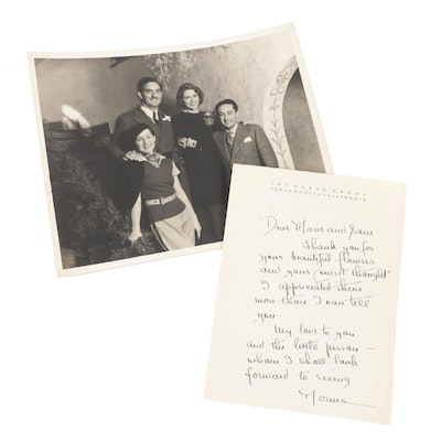 Norma Shearer Signed Personal Letter and Samuel Marx Photograph, 1930s