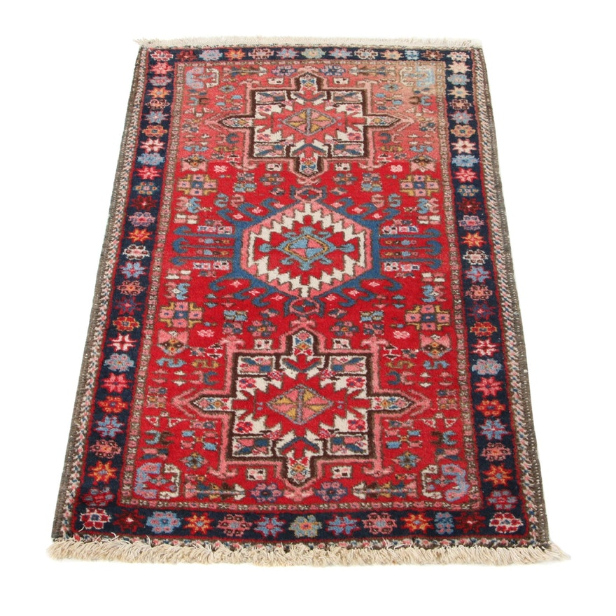 2'6 x 4'1 Hand-Knotted Persian Karaja Accent Rug, 1940s