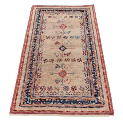 2'6 x 5'1 Hand-Knotted Persian Gabbeh Signed Accent Rug, 1930s