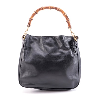 Gucci Bamboo Two-Way Black Leather Bag