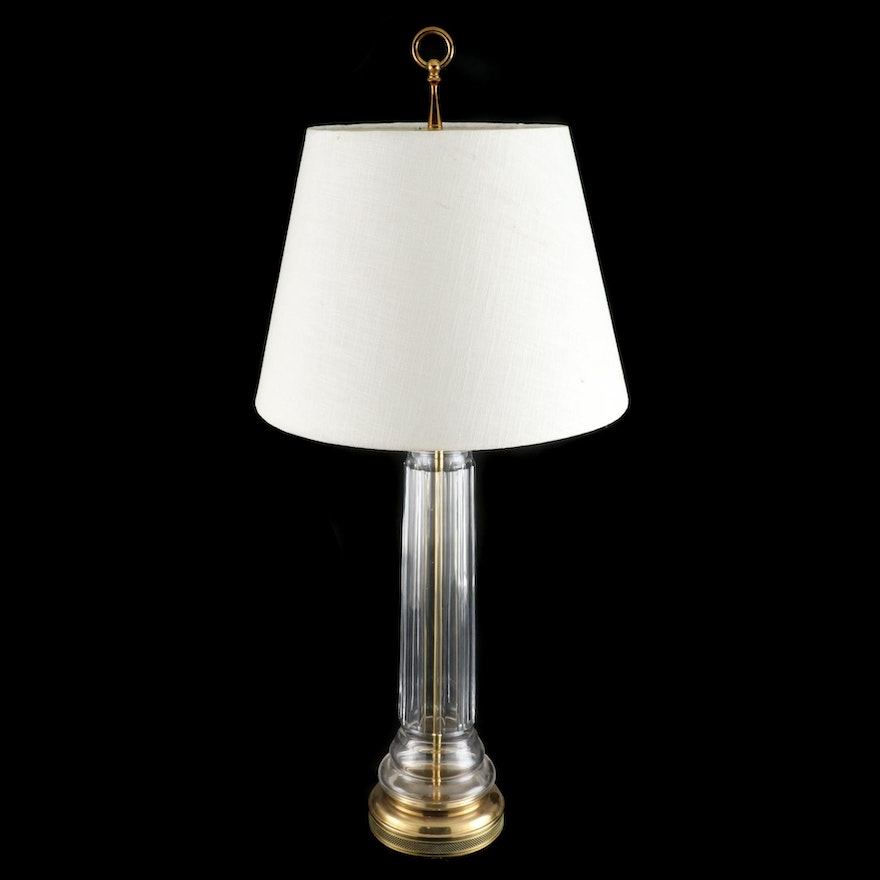 Brass and Glass Column Table Lamp, Late 20th/21st Century