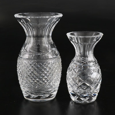"""Waterford Crystal """"Glandore"""" and """"Colleen"""" Flower Vases, Late 20th Century"""