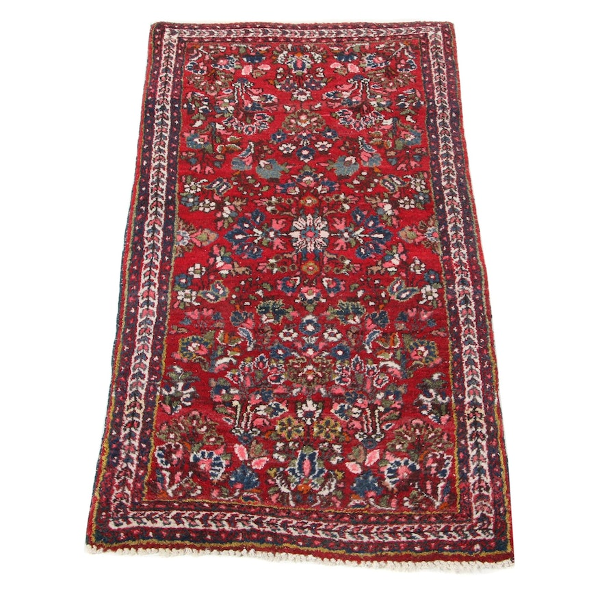 2'1 x 4' Hand-Knotted Persian Sarouk Accent Rug, 1930s