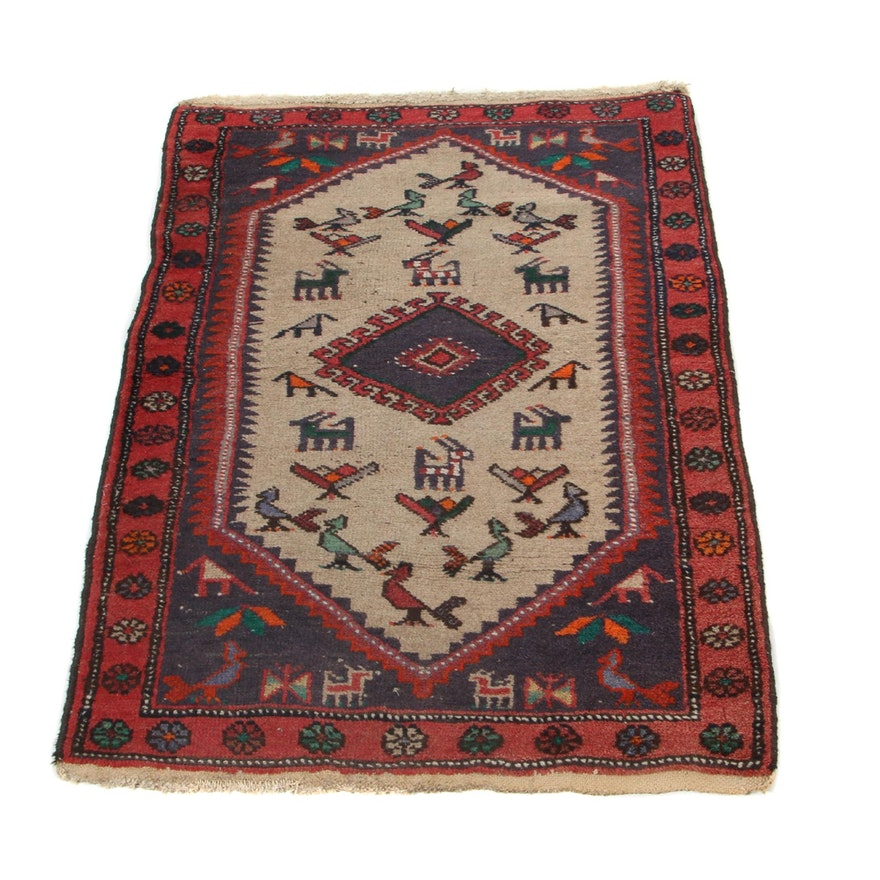 2'7 x 3'10 Hand-Knotted Northwest Persian Pictorial Accent Rug, 1920s