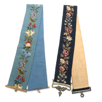 Handmade Floral Needlepoint Bell Pulls with Brass Hangers