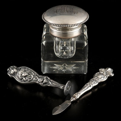 Wilcox Sterling Silver and Glass Ink Well with Sterling Stamp and Ink Eraser