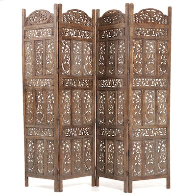 Asian Carved Wood Four Panel Room Screen