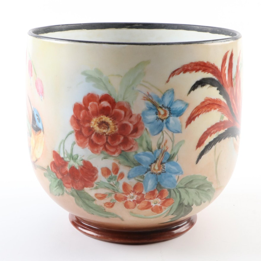 Hobbyist Hand-Painted on Porcelain Limoges Blank Cachepot, Early 20th Century