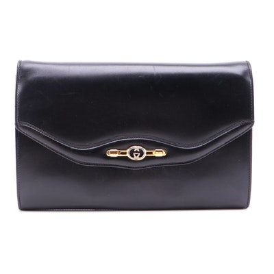 Gucci Interlocking GG Flap Front Convertible Clutch in Glazed Box Calf Leather
