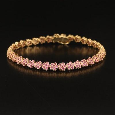 Sterling Ruby Floral Link Bracelet
