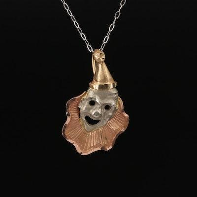 14K Tri-Tone Clown Necklace