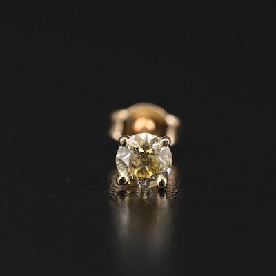 14K Diamond Martini Set Single Stud Earring