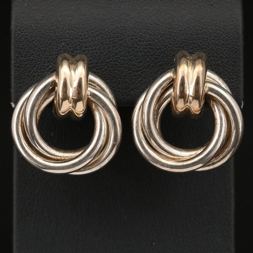 Sterling Multi-Circle Earrings Button Earrings with 14K Clasp