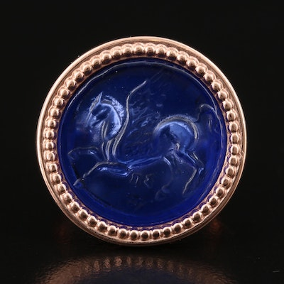 Italian Sterling Silver Glass Cameo Pegasus Ring