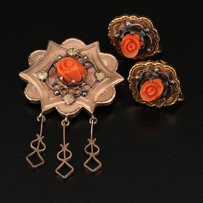 Victorian Carved Rose Brooch and Screw Back Earring Set