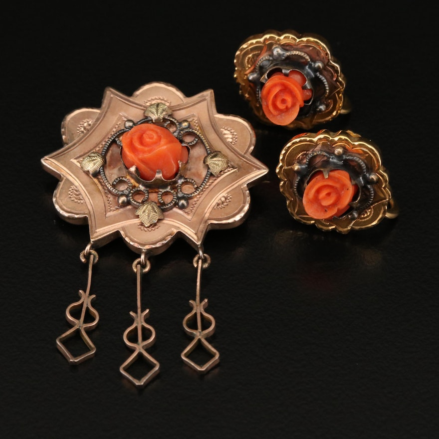 Victorian 10K Carved Rose Brooch and Earrings with Gold Filled Screw Backs Set